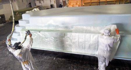Couche de fibre de verre et de résine au dessus du gelcoat