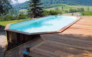 Piscine bois semi enterr e conseil astuces montage for Dimension piscine semi enterree