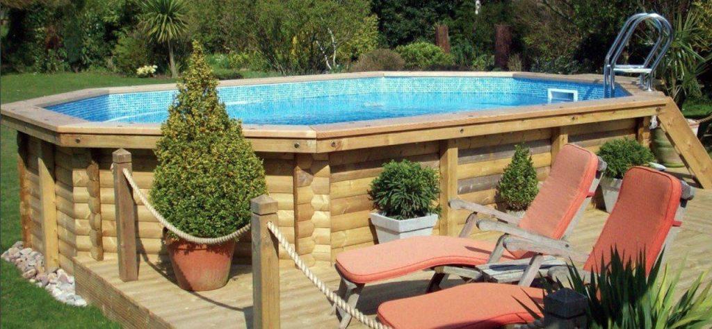 piscine hors sol ovale en bois